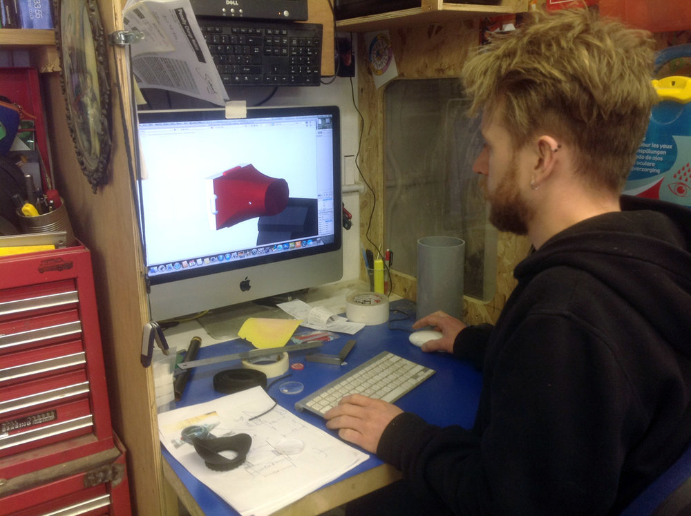 Jack using CAD to produce a 3D model of the loupe