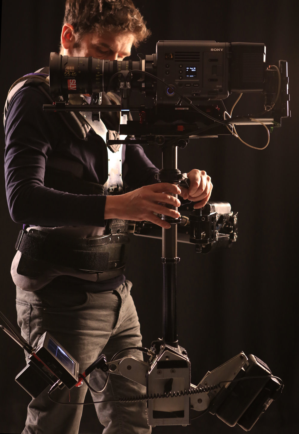 Sony Venice. - The Venice produces some of the best pictures of any movie camera today. If it's good enough for James Cameron then it's good enough for me! Here I'm using it with the Arri Alura 15.5-45mm zoom, a great all round steadicam lens, a real time saver on busy shoots. This camera will take almost any lens as it has a native E and PL mount.The Venice has dual native iso and can shoot RAW or prores in 2k 4k and even 6k, and has a full frame sensor which can be windowed down to super 35 ( the zoom pictured is a super 35 lens ). CP2's or the new PL Sigma Cine primes work well on this rig.