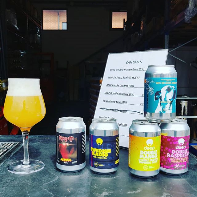 Can Sales Going on @ the brewery again today at 14.00-18.00! The last cans of Deep Double Raspberry going out + pouring FREE sample pours from the great Over the Galaxies 2.0 that is going to be released in cans tomorrow 🍻