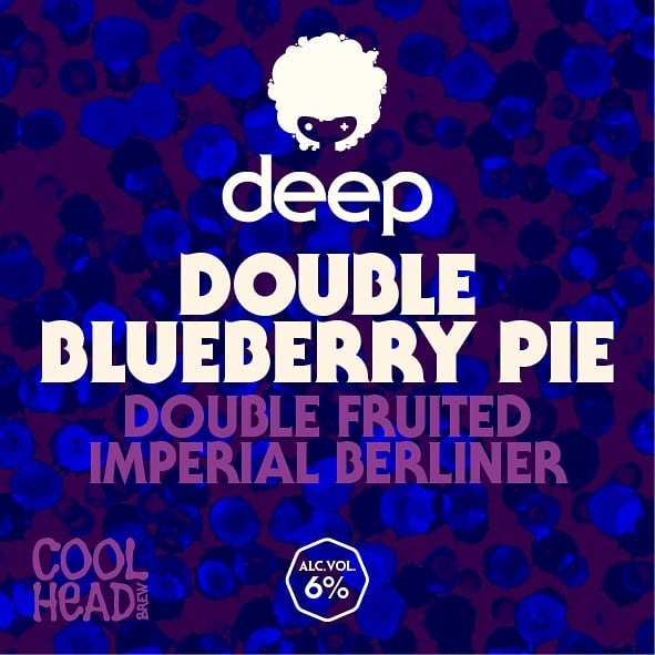 Joining our DEEP family this Friday!  Deep Double Blueberry Pie 6% is a Double Fruited Imperial Berliner brewed with a ton of blueberries, raw wheat & oats, touch of lactose and then finally infused with vanilla and cardamom pods.  Despite all these sweet little additions, this beer is balanced with mouth puckering fruity sourness from our house lacto culture.  Available in cans from the brewery this Friday 14.00-18.00, 4€/can.