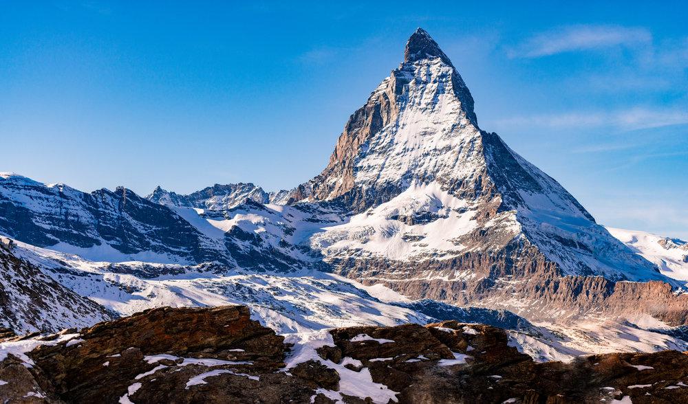 The beautiful Matterhorn as viewed from the ski resort of Zermatt, Switzerland.