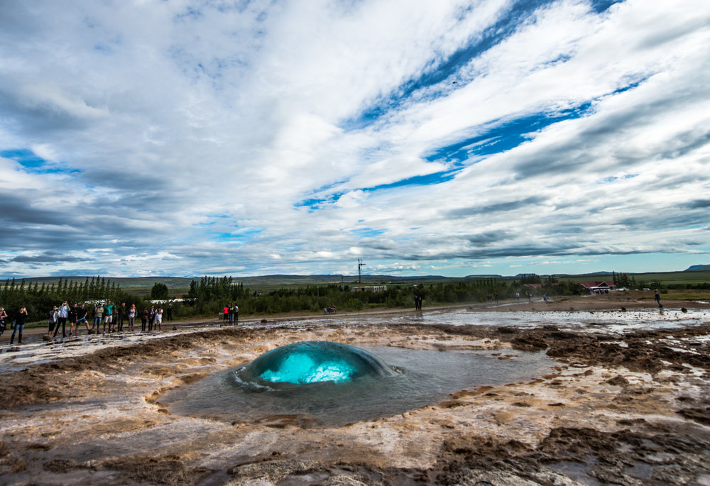 The Strokkur geyser is located about 100km from the capital Reykjavik