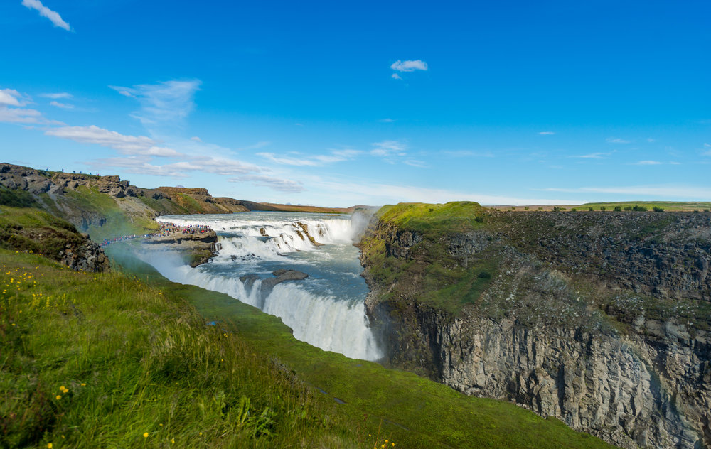 Gullfoss waterfall comes into clear site as you decend from the parking area above. There are many different vantage points so take your time to explore them all.