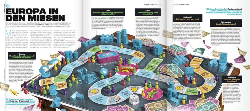 3D-Illustrierte Aufmacherstrecke zur Finanzkrise
