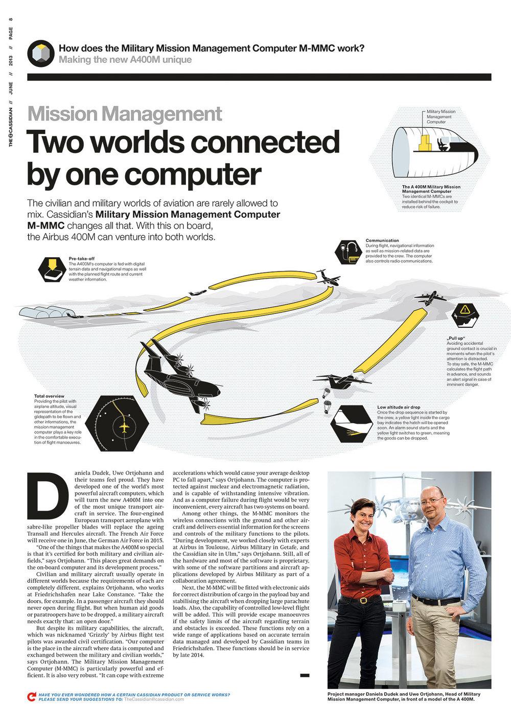 """""""How it works"""" Erklärgrafik (2D, 2013 für """"The Cassidian"""" / Airbus. Umsetzung: Anton Delchmann)"""