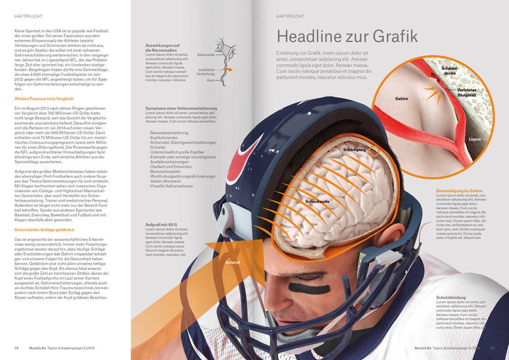 """Doppelseiten-Feature zum Thema """"Concussion im Sport"""" für das Topics-Magazin von MunichRe (3D/2D, Konzept & Art-Direction. Zusätzliches 3D: Damian Bishop)"""