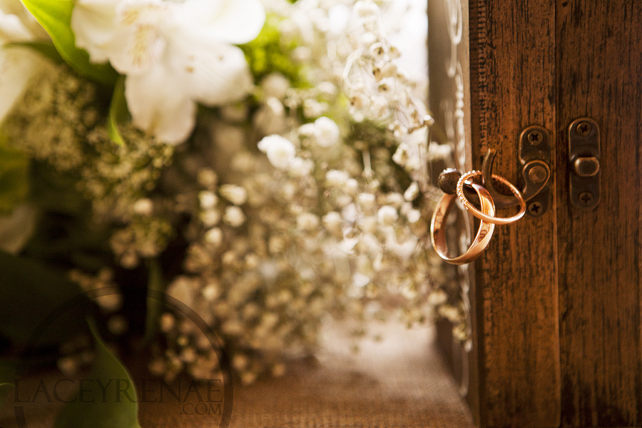 wedding rings on a ring box with baby's breath