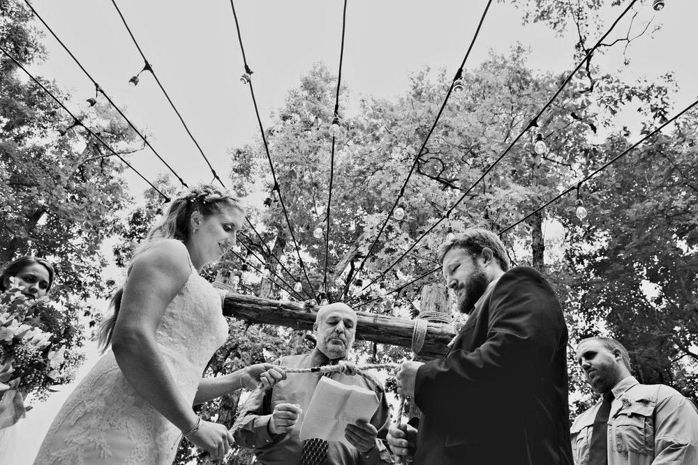 wedding couple under lights