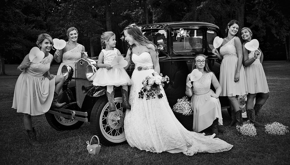 Bridal Party Portraits Old Car