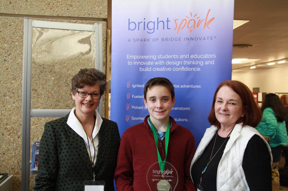 (Left to Right) Bridge CEO & Bright Spark Founder Jenny Whitener; Drew Snyder, and teacher Martha Thomason