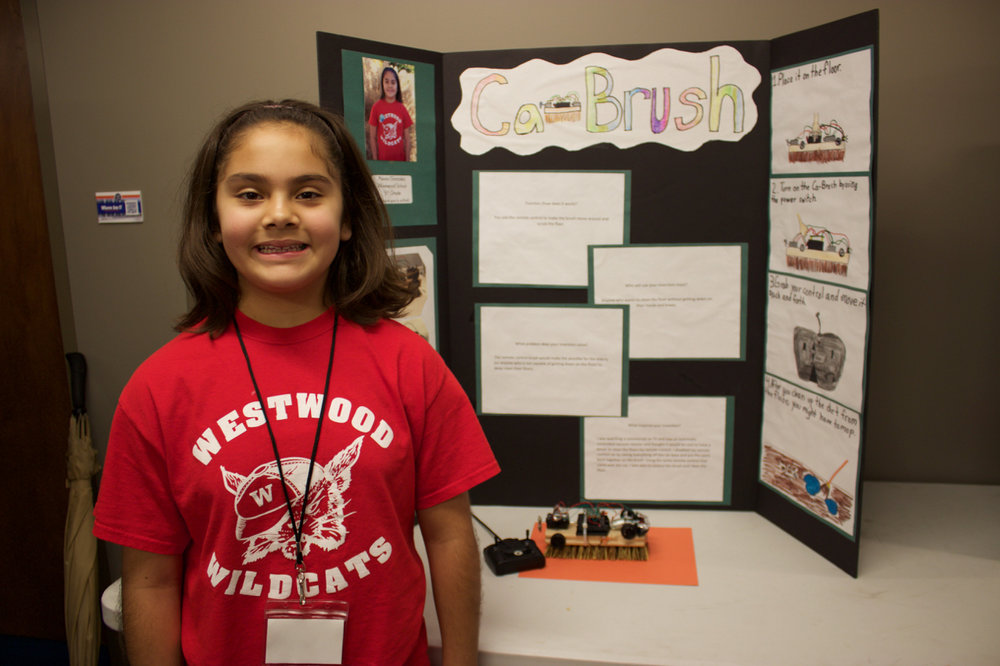 Ca-Brush   Designed by Alexia Gonzalez of Westwood Elementary SchoolWhat problem does your invention solve? The remote control brush would make it possible for the elderly (or anyone who is not capable of getting down on the floor) to deep clean their floors.