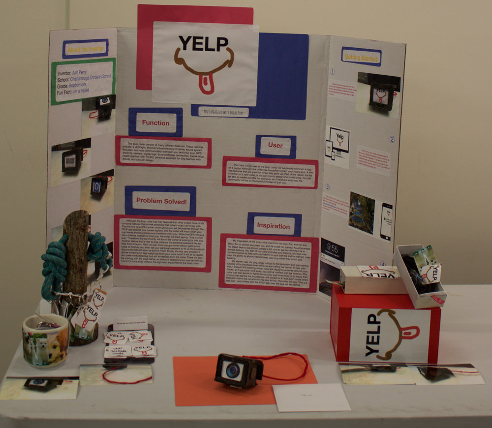 YELP   Designed by Ash Perry of Chattanooga Christian School What problem does your invention solve? My puppy is not very well trained and runs away, so this fixes the problems of losing your dog, not seeing your dog in the dark, and helps train your dog.
