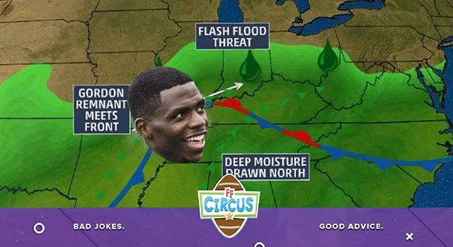 Tropical Storm Gordon and Josh Gordon are on a collision course this Sunday. Will the weather (3-5 inches of rain and 25+ mph wind) keep @flash out of your lineups? Those that drafted him are deservedly excited to play him, but an abbreviated preseason and terrible weather should have owners worried. Check our rankings (link on bio) to see where we have Gordon, and others, coming in this week.