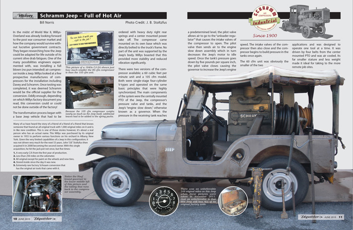 Click here  to read the Schramm Jeep - Full of Hot Air story by Bill Norris in the June 2015 issue.