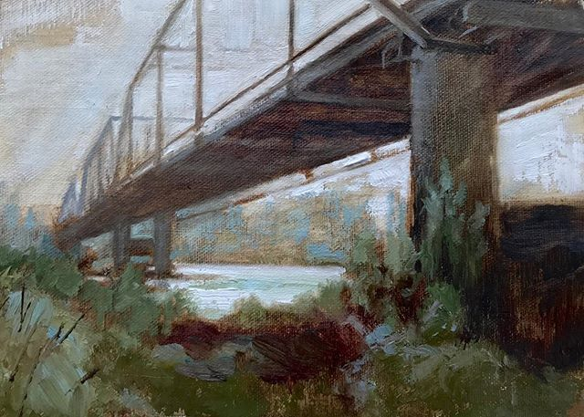 """Overcast Dream at the Old Steel Bridge"" 5x7 Oil on Linen"
