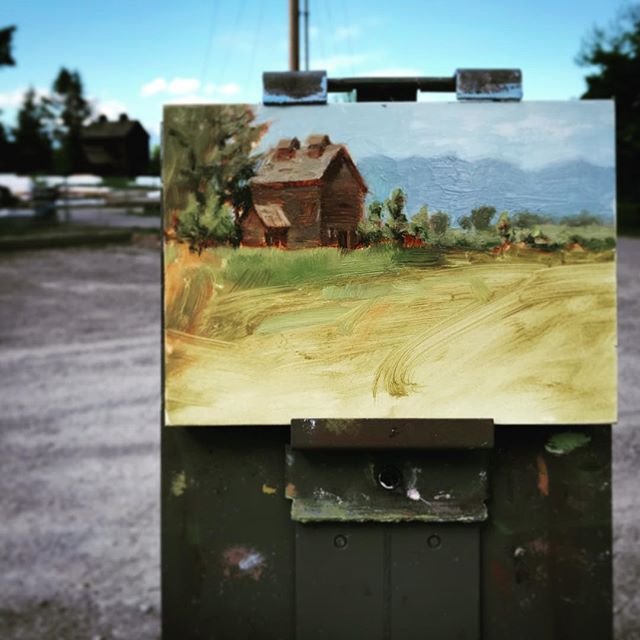 "One of America's last standing ice houses. ""Somer's Bay Ice House"" 6x8 #pleinair #freshpaint #montana"