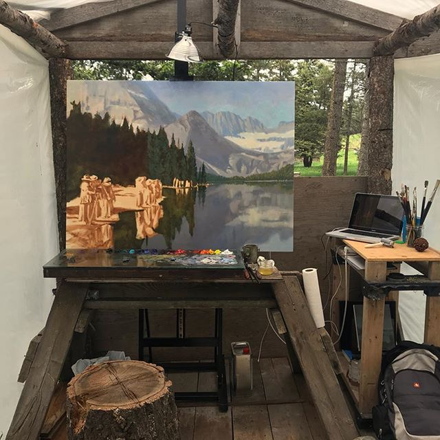 Almost to the fun part... #wip #oilpainting #glacierpark #womenusedtohikeinlongdresses