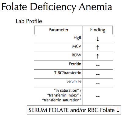 Figure 1 – Lab values of folate (vitamin B9) deficiency anemia.