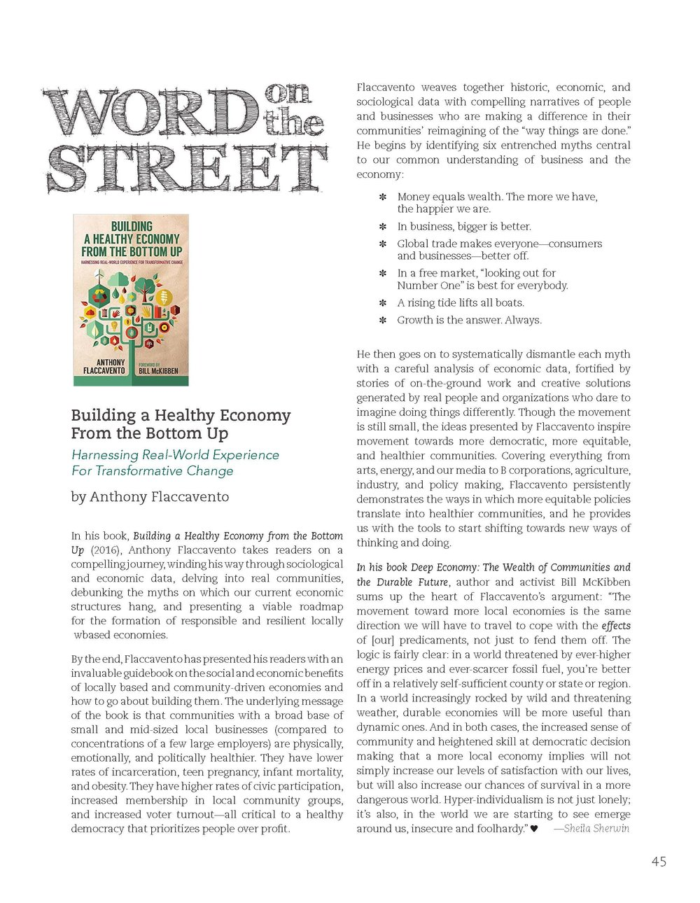 Review published in  Real Small Towns  : The Art of Community , Vol. 1. Reproduced with permission from the publisher.