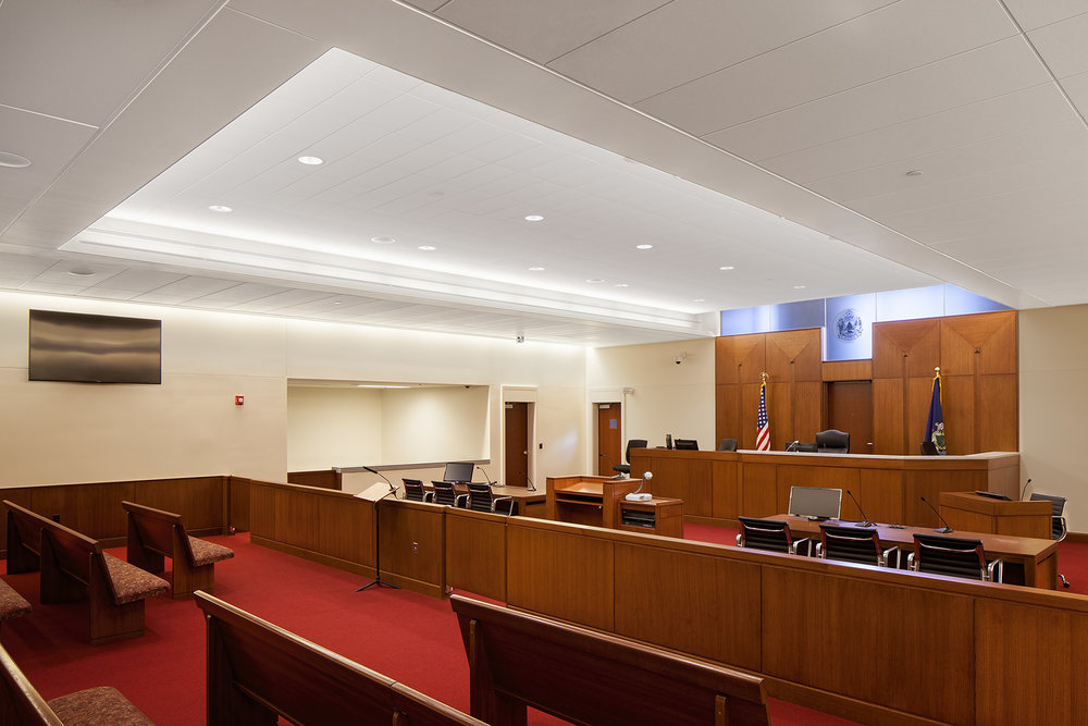 Courtrooms are carefully designed and lit so judges can see faces and body language of the participants. A 6-inch plenum under the well area in each courtroom allows for the evolution of courtroom technology.