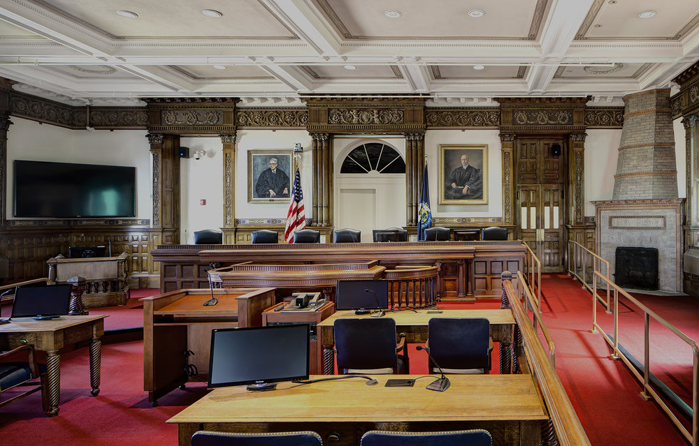 The historic ceremonial courtroom, with new security, AV equipment, furnishings, and sprinklers, and a bench extended to seat all seven justices of the Maine Supreme Court, is open for use for the first time since the 1970s.