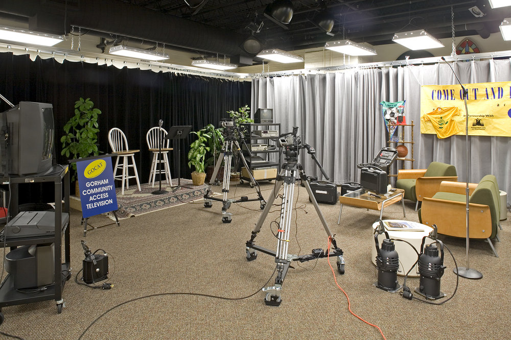Gorham GGETV Channel 3  broadcasts meetings, interviews, and community videos from the studio in the building.