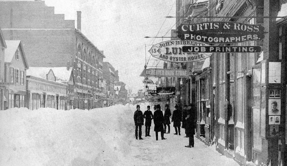 "The 1877 Frye Music Hall, ""the best opera house east of Boston,"" after the Blizzard of 1888. Courtesy Lewiston Historical Society."
