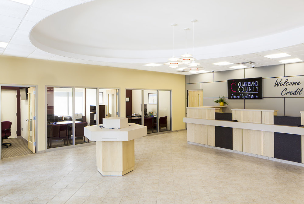Glass-walled offices around the lobby and teller line allow for increased supervision and borrowed light.