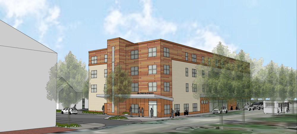 Affordable housing occupies a portion of the fourth floor, with a mix of studio, 1-bedroom-, and 2-bedroom units.