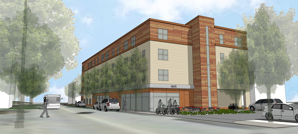 Building amenities, including a community lobby with kitchenette and mailboxes, a waste/recycling room, a telemedicine room, and bike storage, share the ground floor with two retail units.