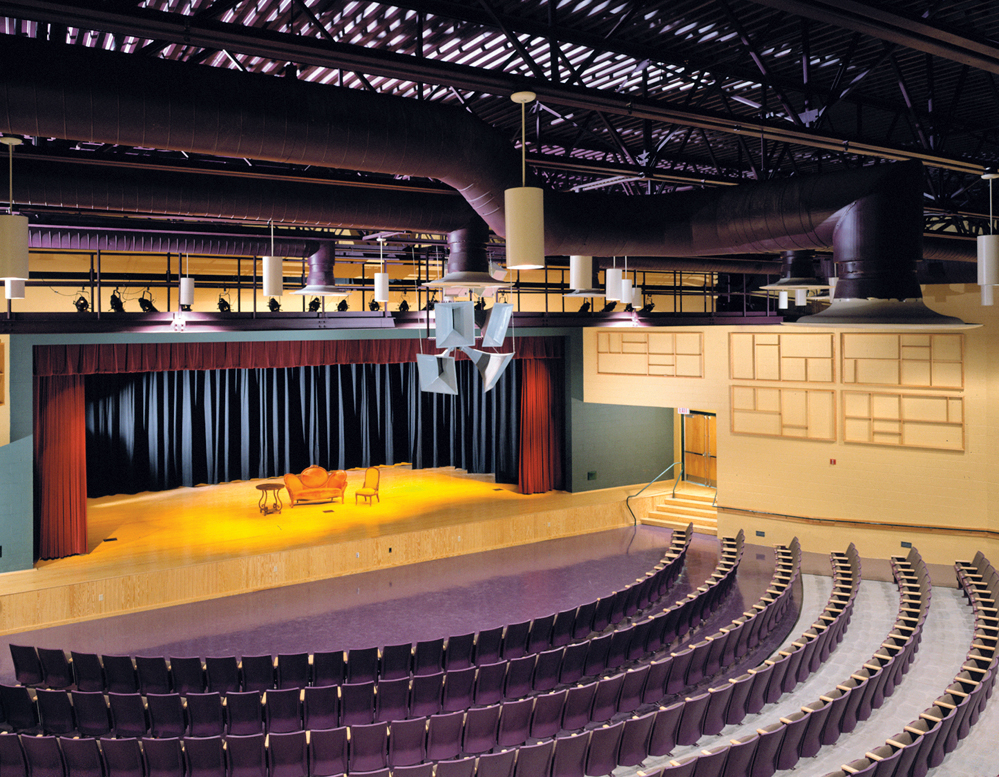 The Thornton auditorium is surrounded with arts and theater spaces that serve as green rooms and scenery prep spaces for performances.