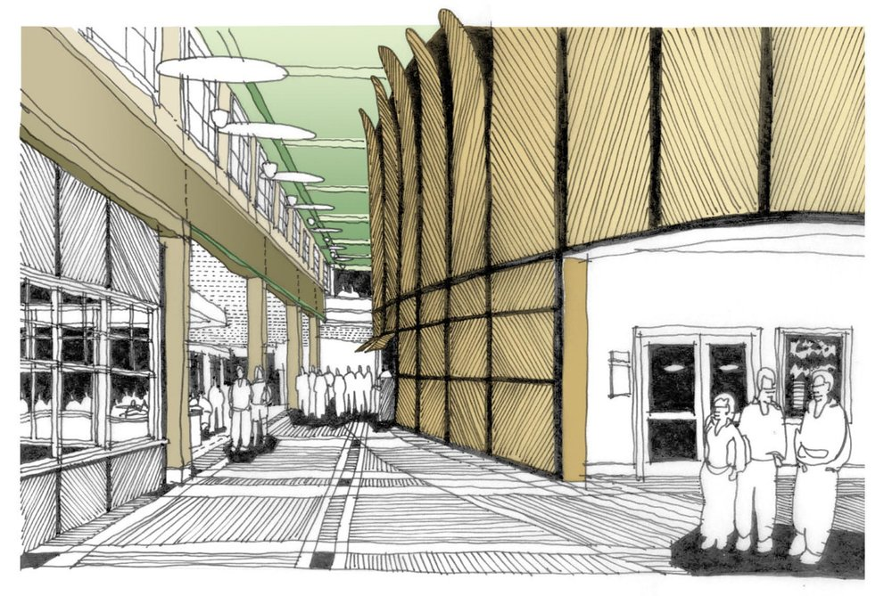 An early perspective sketch of the interior of the Cony High School entry.