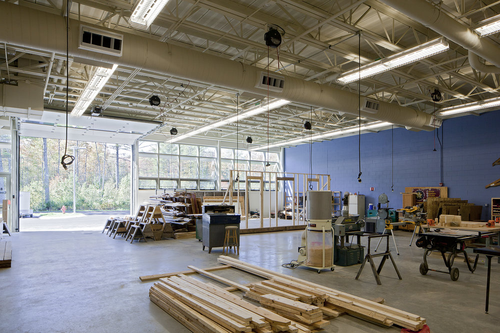 The building trades space is large enough to build small structures.