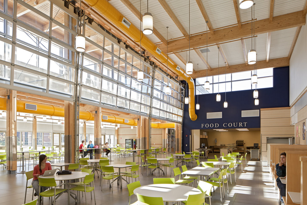 Overhead garage doors can subdivide the food court into three spaces for conferences, meetings, and study.