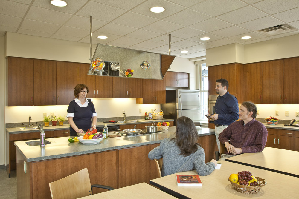 A demonstration kitchen on the first floor is used by dietitians for healthy cooking classes.