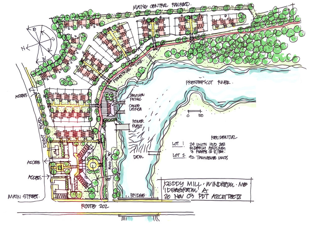 Rendering and site plan, proposed housing development, Windham, Maine