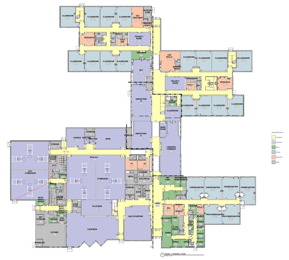 "In progress —The plan arranges various age groupings in separate ""houses,"" all connected to the main street of the school. The innovation center, project rooms, and learning commons are at the center."