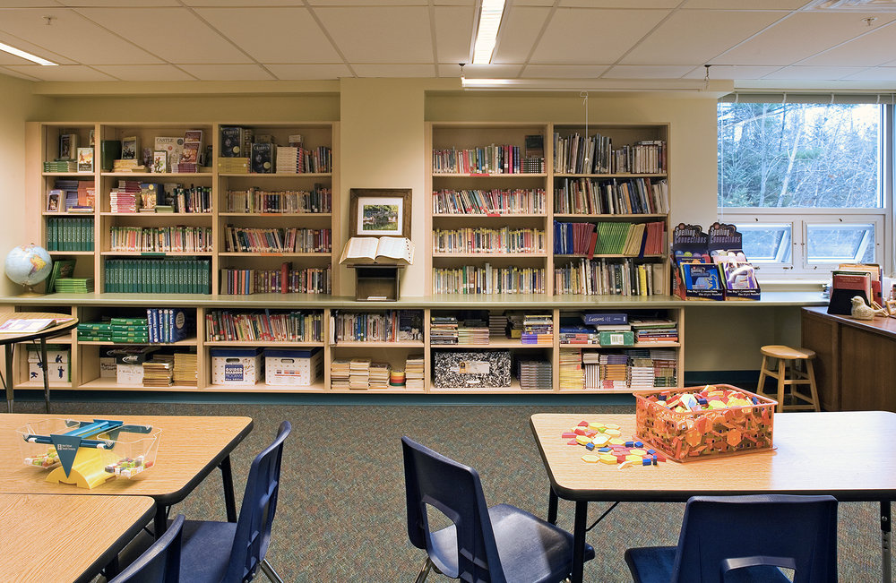 The 6th-grade classrooms have ample storage, natural light, and views to the outdoors.