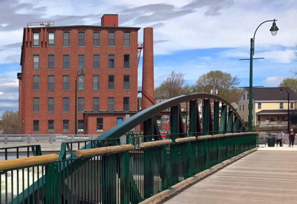 New Pedestrian Bridge over Presumpscot River in Westbrook connects two sides of the downtown. Dana Warp Mill is a historic mill built in the late 1800s as a woolens mill and now houses offices andbusinesses.