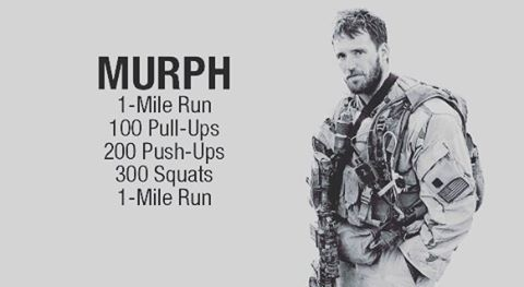"This Saturday we will be doing the hero workout ""Murph"" at 9:30am! This workout was one of Mike's favorites and he'd named it ""Body Armor"". It is now referred as ""Murph"" in honor of the focused warrior and great American who wanted nothing more in life than to serve this great country and the beautiful people who make it what it is. #murph #memorialday"