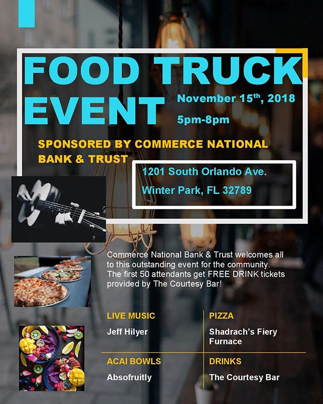 Come and hang out tonight with us at Commerce Bank on 17-92.  Pizza, smoothies, and cocktails... what else does your Thursday night need? #pizza #orlando #orlandoeats #foodtruck #thirstythursday #community #fun