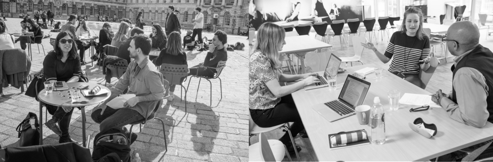 Left: meeting Amy, founder of the charity Invincible Me, on a glorious afternoon at Somerset House. Right: talking to Alice, who works at Save The Children, hearing about her funding experiences.