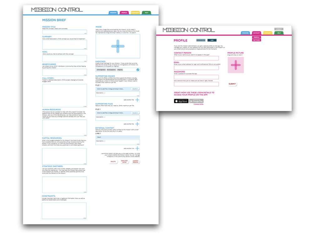 Overwhelming: The existing Mission set-up process was essentially a single, long page full of form-fields.