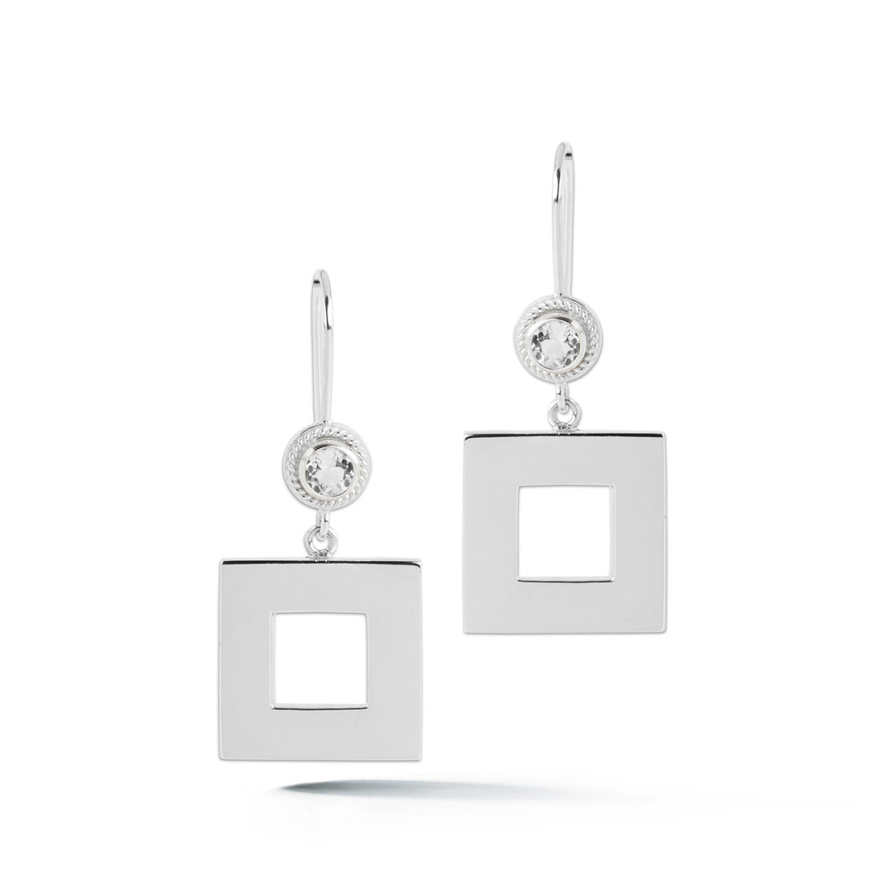 Square Stone Wire Hook Earrings — Beautiful Life Infinity