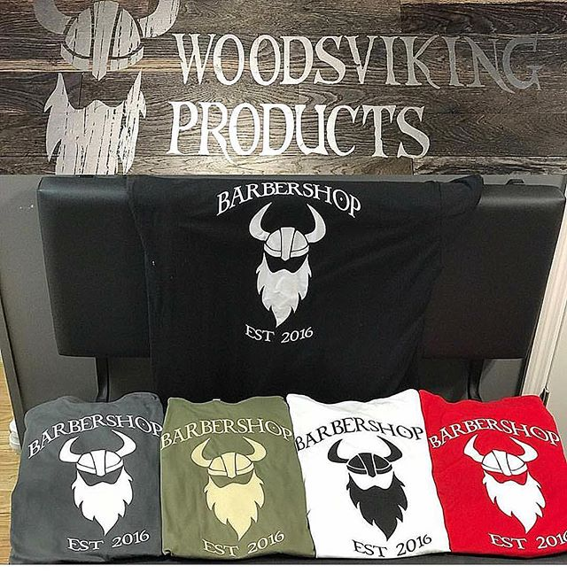 Plenty of WoodsViking T's left in stock at the one and only WoodsViking Barbershop. Perfect Valentines gift for the manly man in your life! #tn #woodsvikingbeardproducts #woodsvikingbarbershop #woodsvikingproducts #woodsviking #barbers #barbershop #barberlife #aftershave #beardoil #beardbalm #valentinesday #tshirts