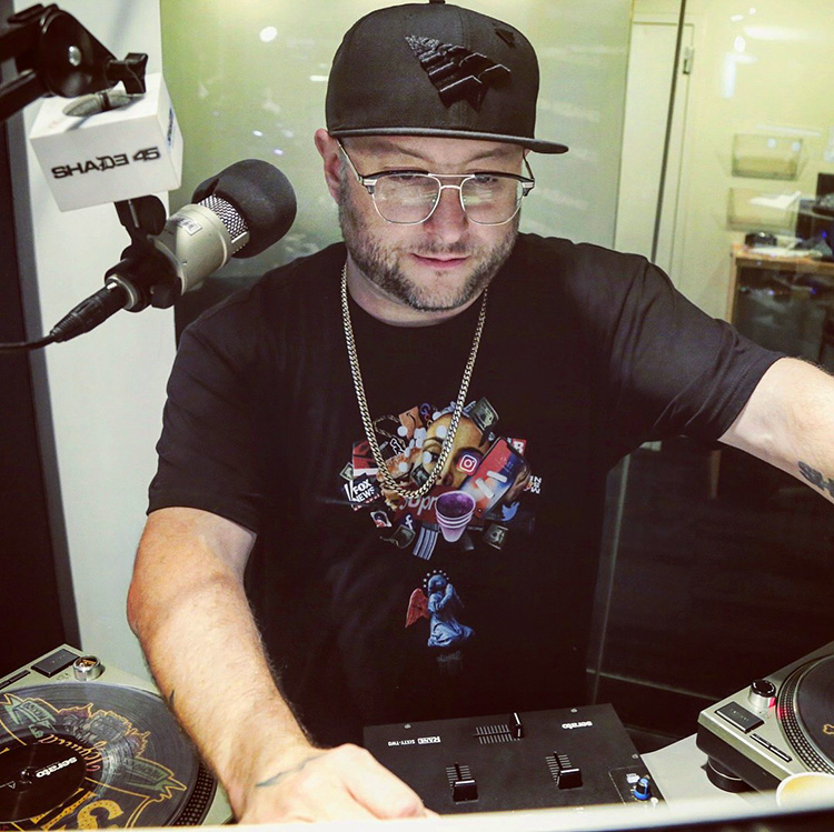 STATIK WEARING DOM DIRTEE WORSHIP TEE ON SHADE45/SHOWOFF RADIO