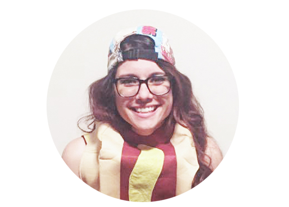 Jess Churchill | Co-Founder | Dancing Hotdog   She's been in the advertising game since she was 15. Worked a few places, lived a few places, loves pinball... and hotdogs. And that hat. And pusheen.
