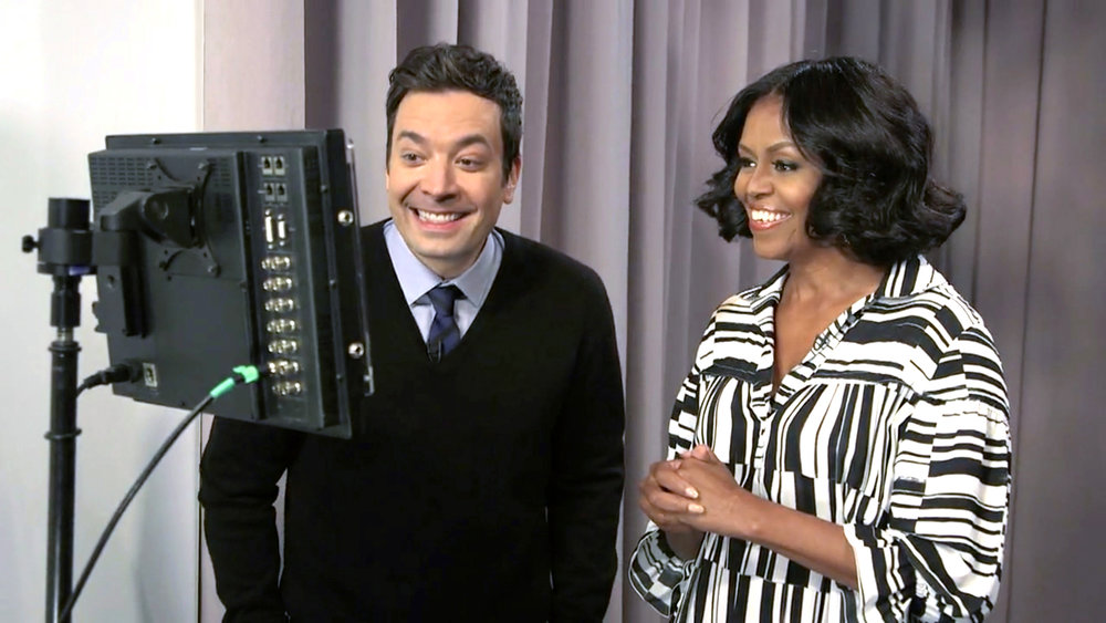 Michelle Obama wearing Victor Alfaro on Jimmy Fallon