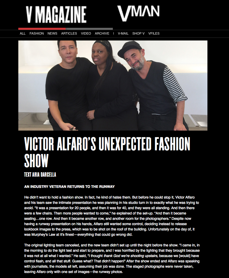 VICTOR ALFARO'S UNEXPECTED FASHION SHOW