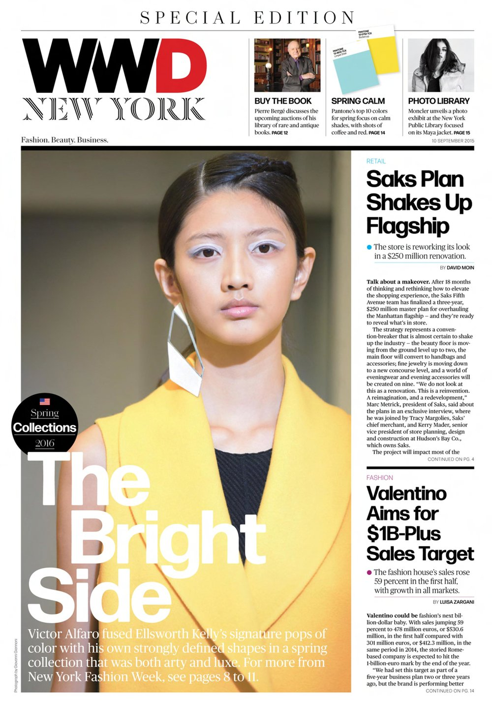 Victor Alfaro Spring 2016 Collection on cover of Women's Wear Daily